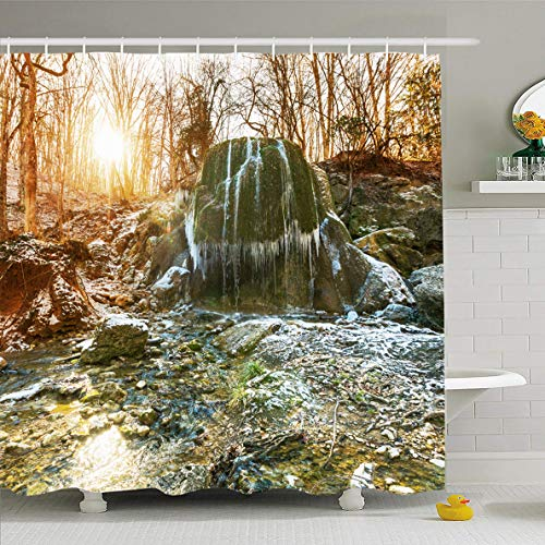 (Ahawoso Shower Curtain 60x72 Inches Early Green Cascade Waterfall Spring Forest Nature Crimea Parks Silver Cataract Cliff Creek Design Waterproof Polyester Fabric Bathroom Curtains Set with Hooks)