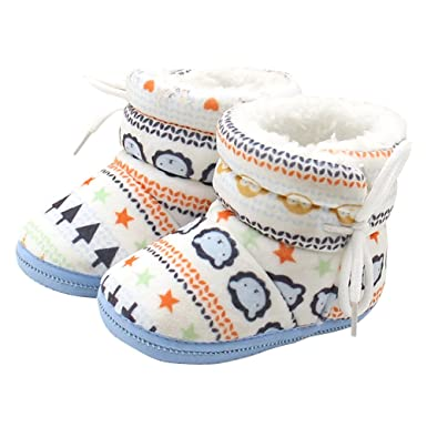ee6fc0b77c55 Deloito Fashion Toddler Newborn Baby Girl Lovely Heart Print Boots Soft  Sole Boots Prewalker Warm Shoes (Blue