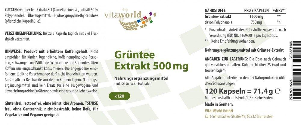 Amazon.com: Green tea 500mg 120 vegetarian Capsules 50 % Polyphenols German pharmacy production: Health & Personal Care