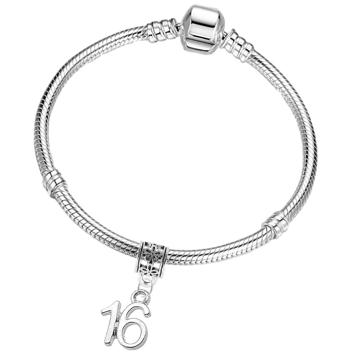 16th 18th 21st Birthday Silver Plated Starter Charm Bracelet with Gift Box Charm Buddy ®
