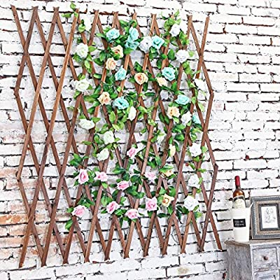 Wood Lattice Garden Trellis, Plant Display Screen w/ Adjustable Width, Dark Brown