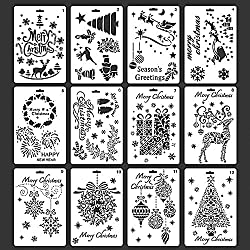 Christmas Stencils Template Merry Christmas DIY Craft Cards with Merry Christmas, Santa Claus, Christmas Tree, Snowflakes, Bulbs, Reindeer Patterns for Christmas Cards Making and Decoration, 12pcs