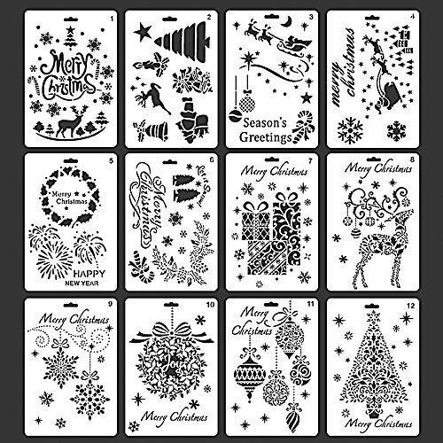 Card Templates Craft (Christmas Stencils Template Merry Christmas DIY Craft Cards with Merry Christmas, Santa Claus, Christmas Tree, Snowflakes, Bulbs, Reindeer Patterns for Christmas Cards Making and Decoration, 12pcs)