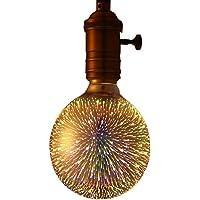 Juneslife LED Lámpara de filamento G95 Bombilla redonda E27 Bombilla 3D 4W Lámpara de fuegos artificiales colorida para decoración y cafetería Habitación KTV Hotel Restaurante Hall Magic Hall Showcase Stores