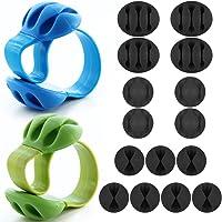 DanziX Pack de 17 sujetacables, Adhesivo de Silicona Durable Cord Organizer Management para Car Desk TV PC Home Office, Incluye 2 Piezas Triple Slots Desk Line Fixers - Azul, Verde, Negro