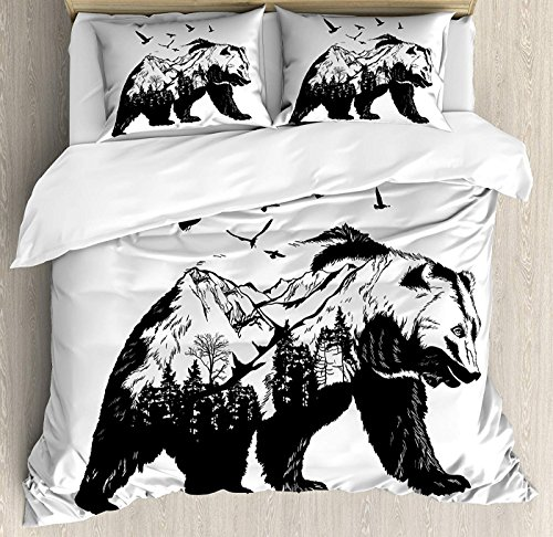 Bear Bedding Set Twin Size, Mammal Silhouette with Mountain Landscape Flying Birds and Forest Wildlife Design,Comforter Cover Sets for All Season, Black White