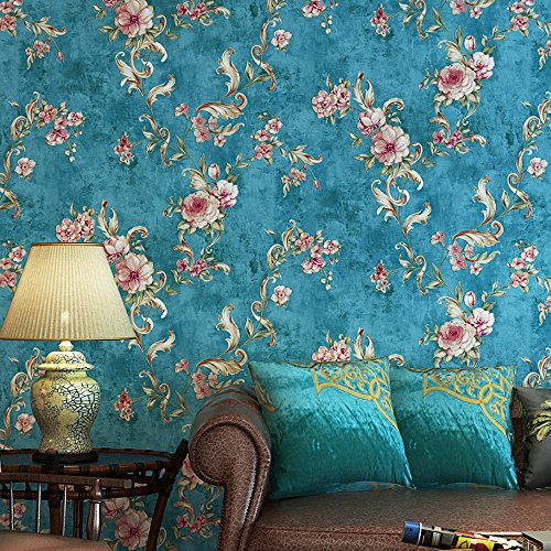 Blooming Wall Vintage Floral Peony Wallpaper Wall Mural for Livingroom Bedroom Kitchen Bathroom, 20.8 In32.8 Ft=57 Sq.ft