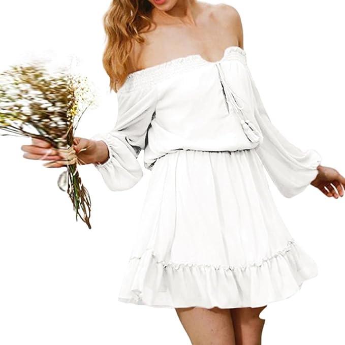 Vestidos Fiesta Mujer Corto Elegante Verano Tallas Grandes Vestido Sin Mangas con Volantes Y Gasa para