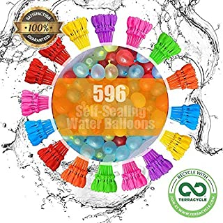 Water Balloons 596 Balloons 16 Packs SELF Sealing Baloons Fill in 60 Seconds Easy Quick Summer Splash Fun Outdoor Backyard Kids and Adults Party Water Bomb Fight Games 10614