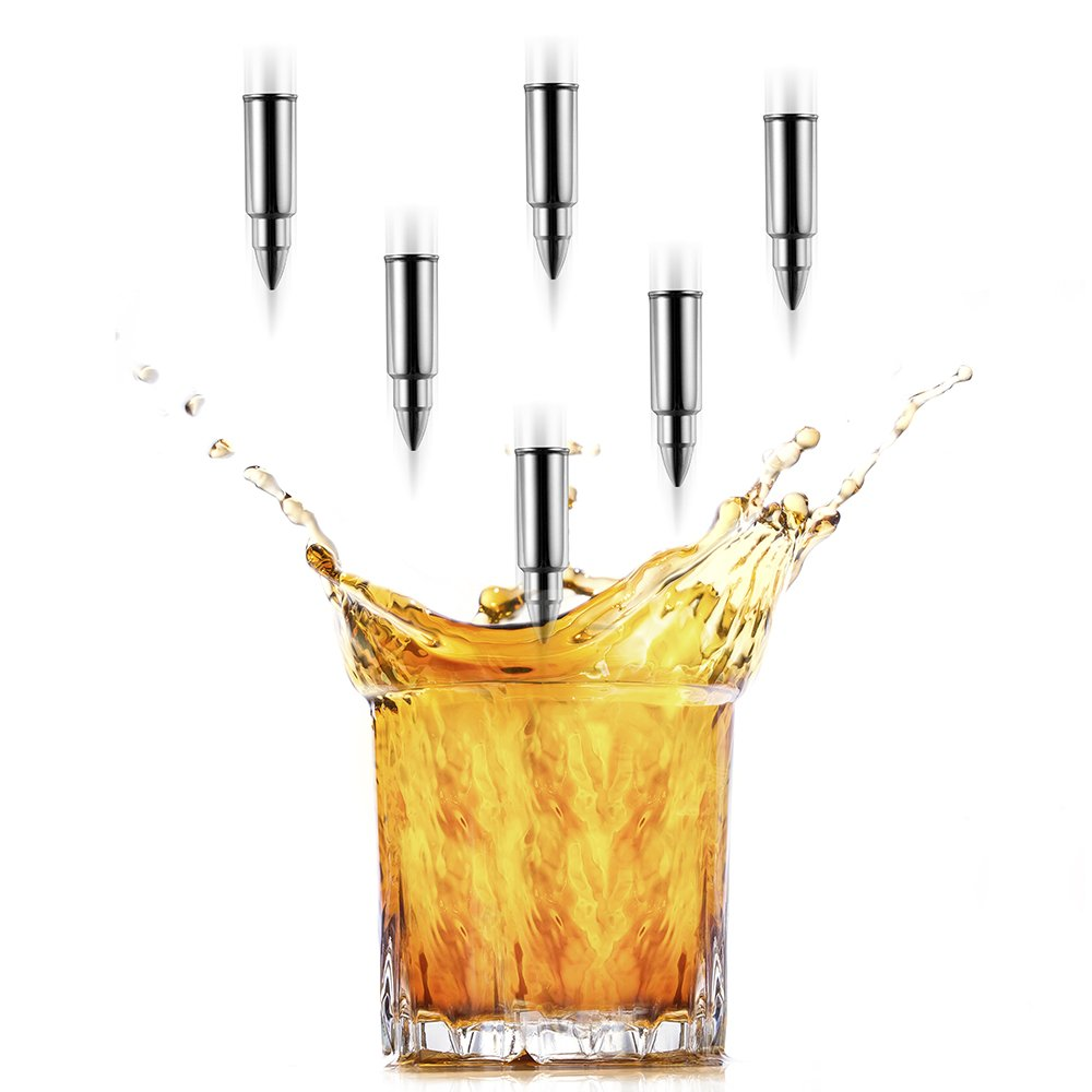 Y&R Direct 6 PCS Premium Whiskey Stones Bullet Shaped Whiskey Rocks FDA-approved Stainless Steel Ice Cubes, Whiskey Chillers with Ice Tongs and Velvet Bag