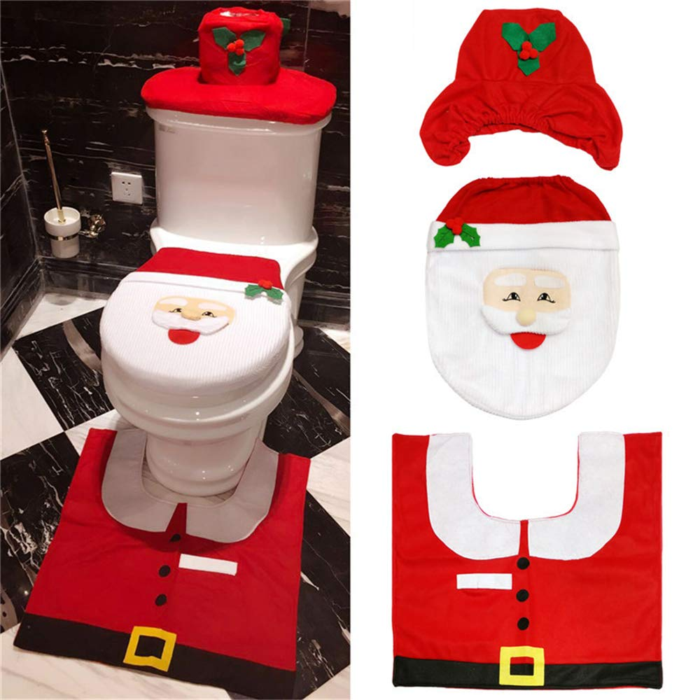 traderplus 3-Piece Santa Toilet Seat Cover Christmas Decorations Bathroom Rugs Set (Red Santa) by traderplus