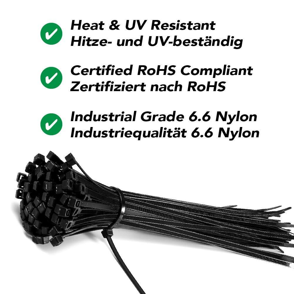 Lot de 100x Colliers de Serrage Calaisco 300 mm x 3.6 mm Couleur: Blanc R/ésistant aux UV et /à la chaleur Attache C/âble en nylon