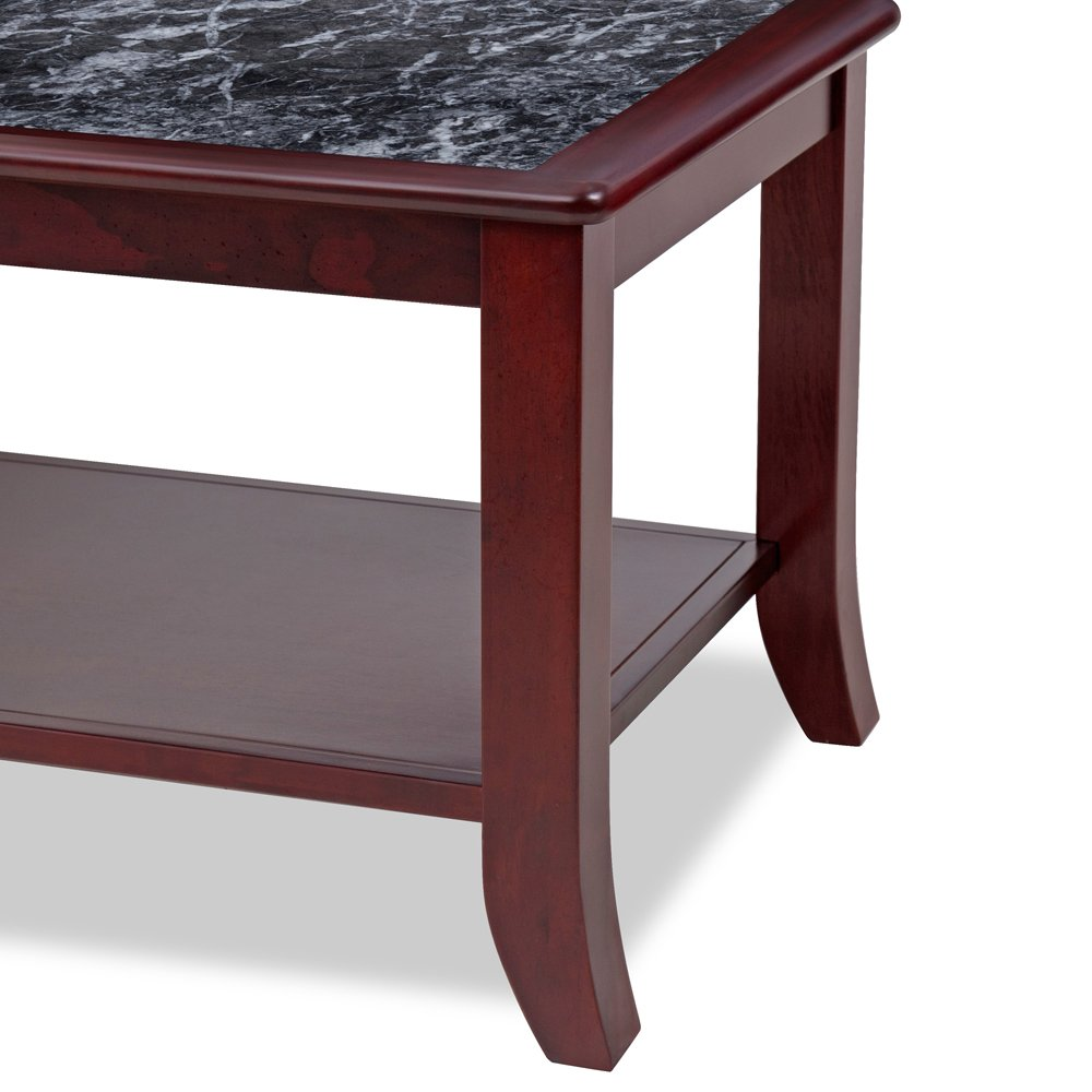 PrimaSleep Natural Marble (From Italy) Top Solid Wood Coffee Table/ Side Table/ End Table/ Sofa Table/ Dining Table/ Vanity Table/ Computer Table/ Office Table/ LivingRoom Table, (Black/Cherry Brown)