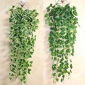 FYYDNZA Popular Home Decor Green Plant Ivy Leaf Artificial Flower Plastic Garland Artificial Vine Flowers Wall Decor 2