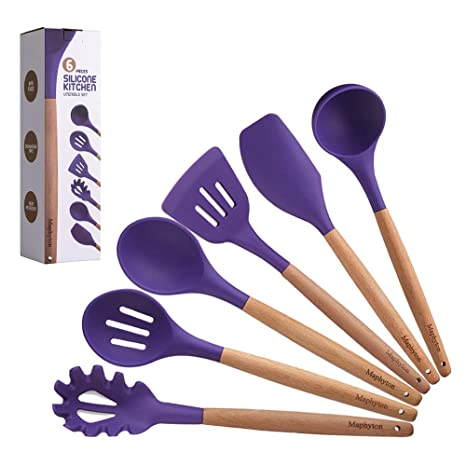 Maphyton Silicone Cooking Utensils, 6 Pieces Nonstick Heat Resistant  Kitchen Tool Set BPA Free with Natural Wood Handle Purple