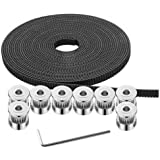 GT2 Timing Belt Pulley, 8pcs 5mm 20 Teeth Timing Pulley Wheel and GT2 5 Meters Rubber 2mm Pitch 6mm Wide Timing Belt…