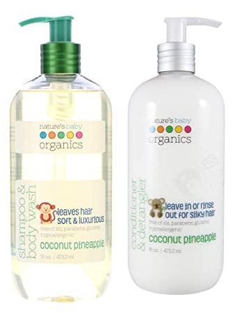 87b1f90230c8 Nature's Baby All Natural Organic Coconut Pineapple Baby Shampoo & Body Wash  and Conditioner & Detangler