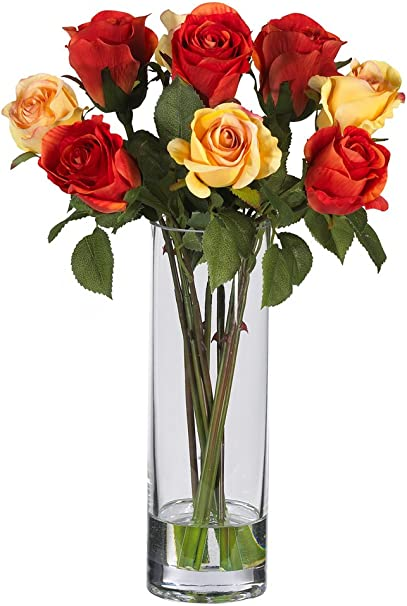 Nearly Natural 4740 Roses With Glass Vase Silk Flower Arrangement Multi Home Kitchen Amazon Com