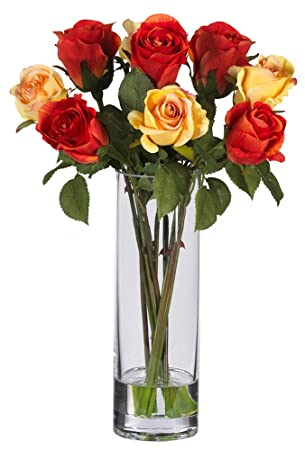 Amazoncom Nearly Natural 4740 Roses With Glass Vase Silk Flower