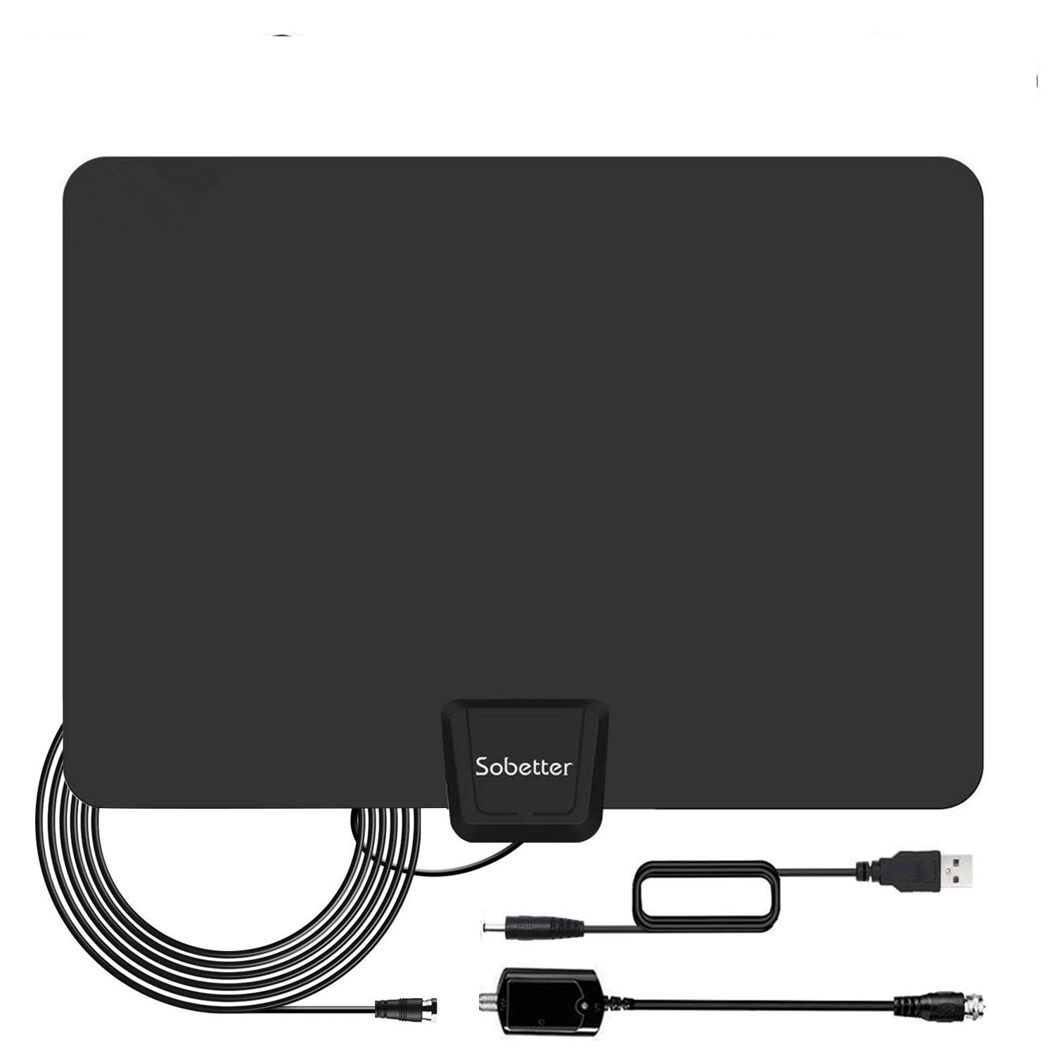 HDTV Antenna - Digital HD TV Antenna 60-90Miles Range Compatible 4K 1080P Free TV Channels Powerful Detachable Amplifier Signal Booster,Longer Coax Cable