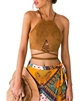 AutumnFall Women Strappy Crop Tank Tops Bustier Cutout Padded Bra Cami