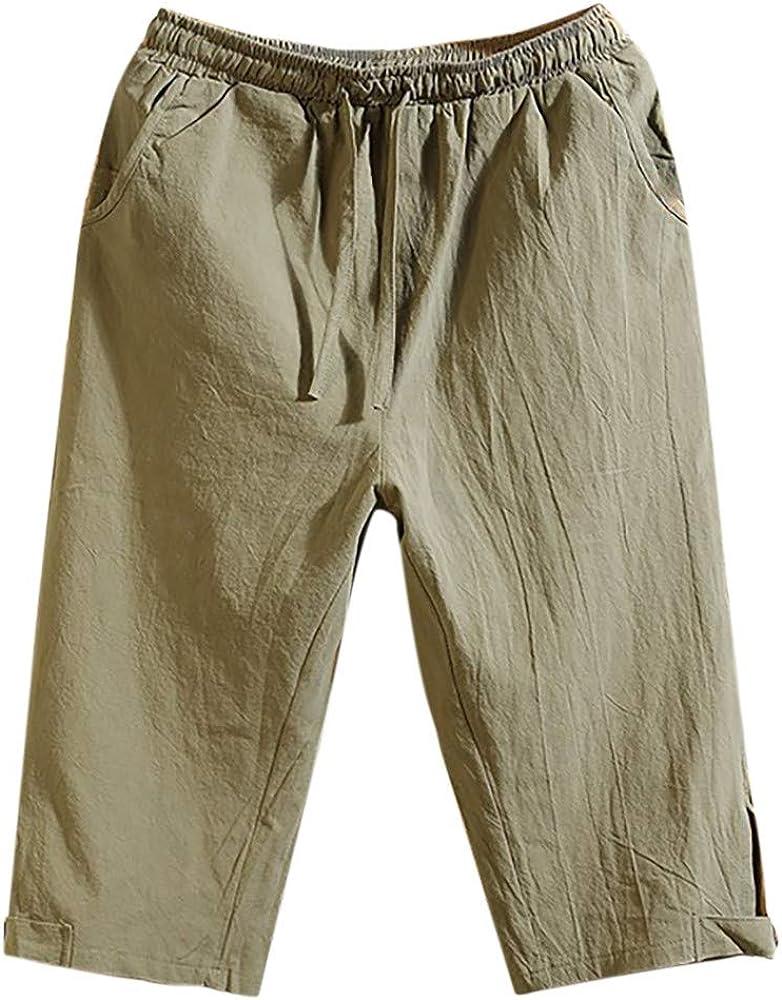 beautyjourney Pantalones Cortos de Estilo Chino para Hombre Algodón y Lino Pantalones Cortos Casuales Retro Flaco de Color sólido de Verano Pantalones Cortos de Playa Sueltos: Amazon.es: Ropa y accesorios