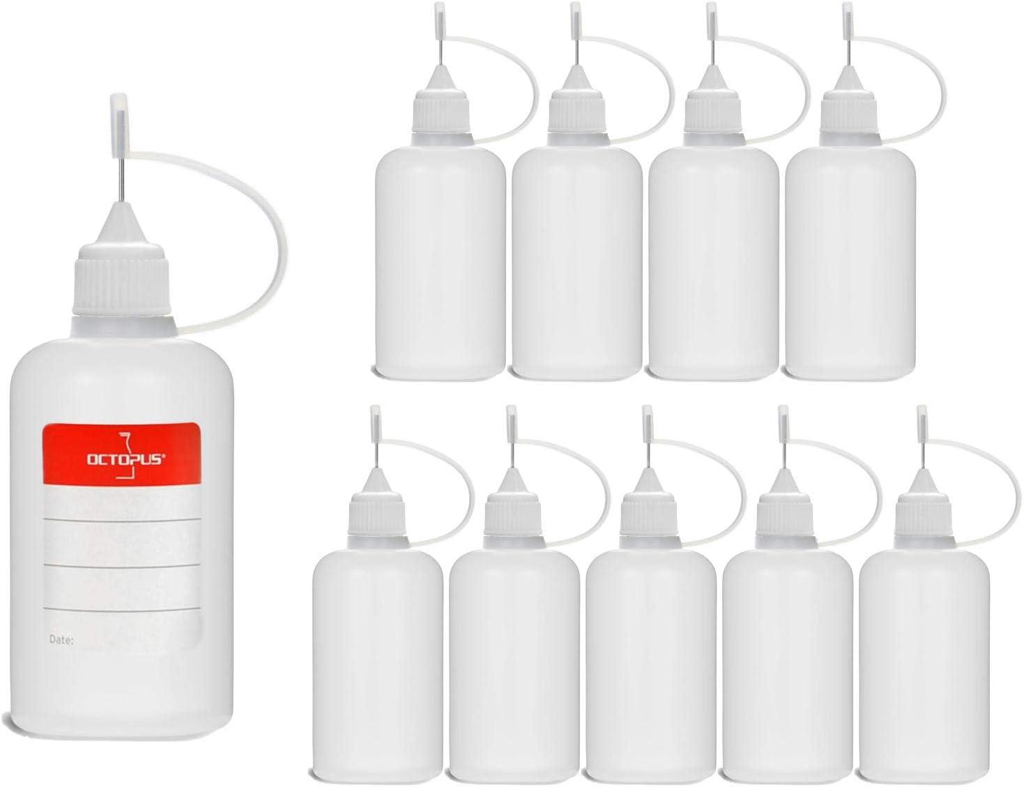 10 Botellas de recarga con aguja Octopus de 50 ml, botella para líquidos electrónicos para shishas electrónicas y cigarrillos electrónicos, aceites, tintas y pegamentos, botellas vacías de plástico LD