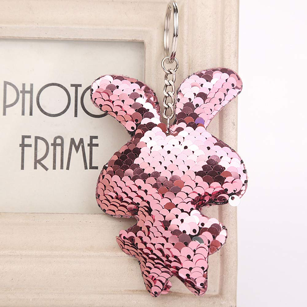 Aobiny Keychain, Cute Star Sequin Keychain Key Ring Rabbit Sequin Pendant Gift Keychain for Women Girls, Lovers, Girls, Boys (Pink) by Aobiny (Image #2)