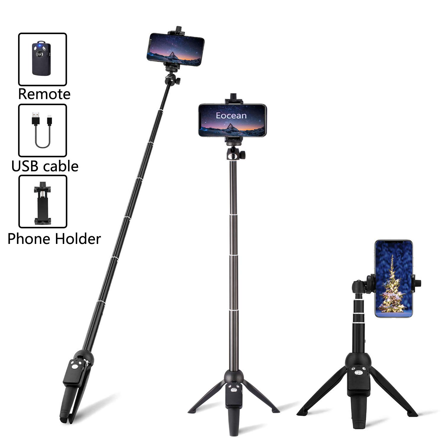 Eocean 40-inch Selfie Stick Tripod, Extendable Selfie Stick Tripod Stand with Wireless Remote, Compatible with iPhone Xs/Xr/Xs Max/X/8/8 Plus/Samsung Galaxy Note 9/S9/Huawei/Honor/Google and More by Eocean