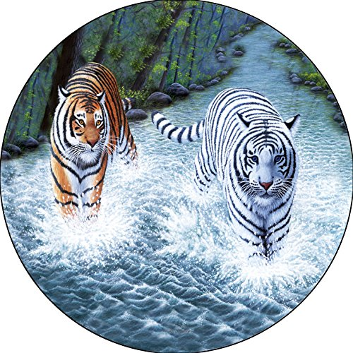 Tiger & White Tiger in River Majestic Wet & Wild Spare Tire Cover for 215/75R15 Jeep RV Camper VW Trailer etc(Select Popular Sizes from Drop Down menu or Contact us