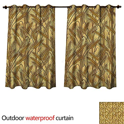 cobeDecor Harvest 0utdoor Curtains for Patio Waterproof Cereal Ears Rural Field W55 x L72(140cm x 183cm)