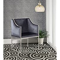 Iconic Home FAC2731-AN Rowan Modern Contemporary Steel Frame Velvet Accent Chair, Grey