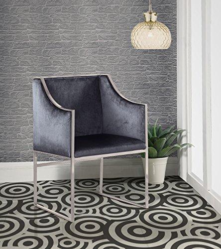 Rowan Designer - Iconic Home FAC2731-AN Rowan Contemporary Steel Frame Velvet Modern, Accent Chair, Grey