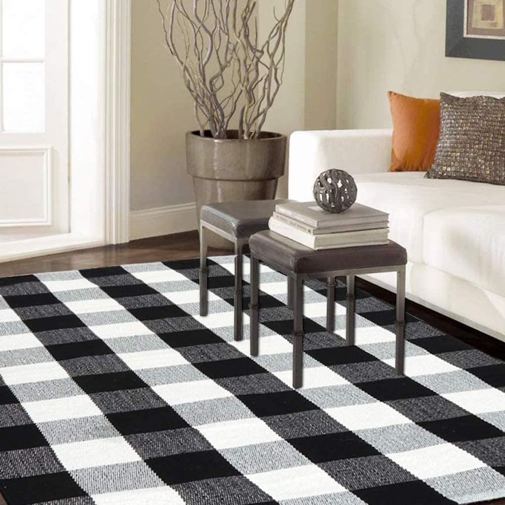 Homcomoda Area Rug Cotton Plaid Checkered Rugs 35 x 59 Inch Black and Cream White Mat Hand Made Braided Floor Mats Runner Rugs Washable Carpet for Living Room Bedroom.
