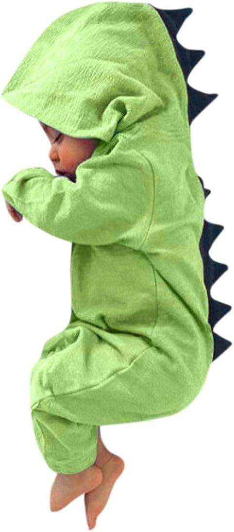 ASHOP Ropa Bebe Monos para Unisex Bebé Niñas Niños Liquidación Dinosaurio Hooded Mameluco Ropa Pijama Trajes de niños (Verde, 3 Meses)