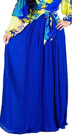 dahuo - Falda Larga de Gasa para Mujer Azul Azul 34: Amazon.es ...