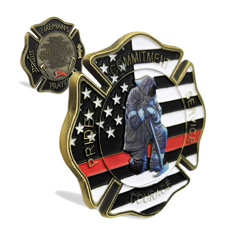 Creative Firefighters Gift United States Thin Red Line Flag Maltese Cross Fireman's Prayer Challenge Coin Indeep