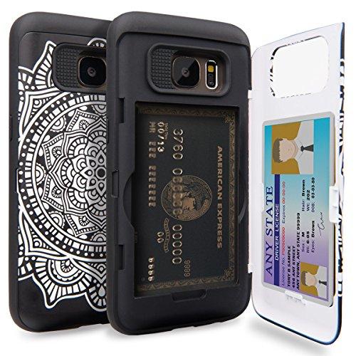 TORU CX PRO Galaxy S7 Wallet Case Pattern Mandala with Hidden ID Slot Credit Card Holder Hard Cover & Mirror for Samsung Galaxy S7 - Dreamcatcher