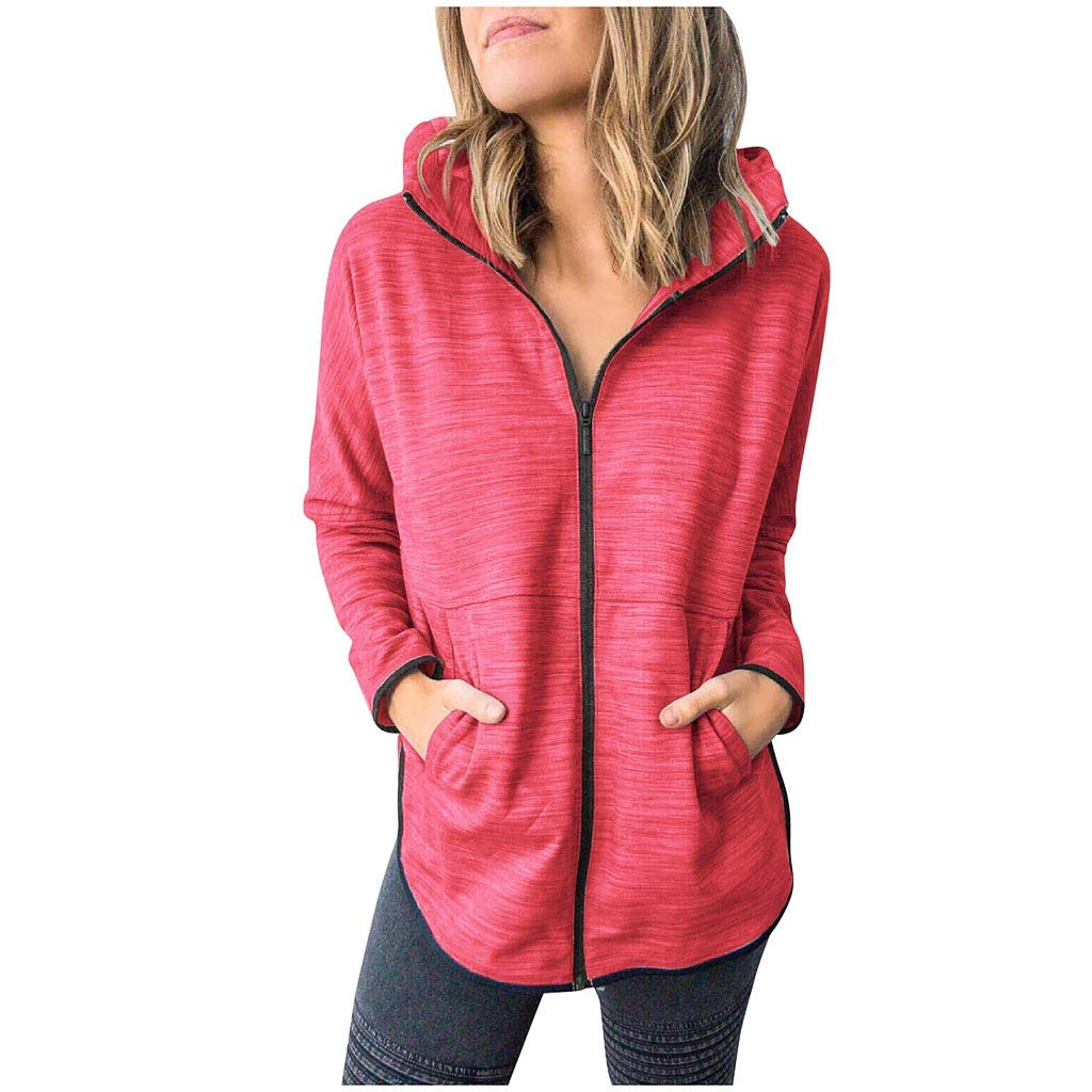 Famisamy Ladies Fashion Casual Autumn and Winter Thin Long-Sleeved Hooded Sweater Coat Watermelon Red by Famisamy