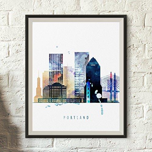 print, Portland Skyline Poster, Portland Watercolor, Wall art, Portland cityscape, Oregon poster, Typography art Wall Decoration, Unframed print ()