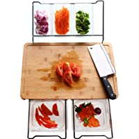 Bamboo Cutting Board with 5 Storage Containers, Extensible Multifunctional Non-Slip Chopping Board for Kitchen