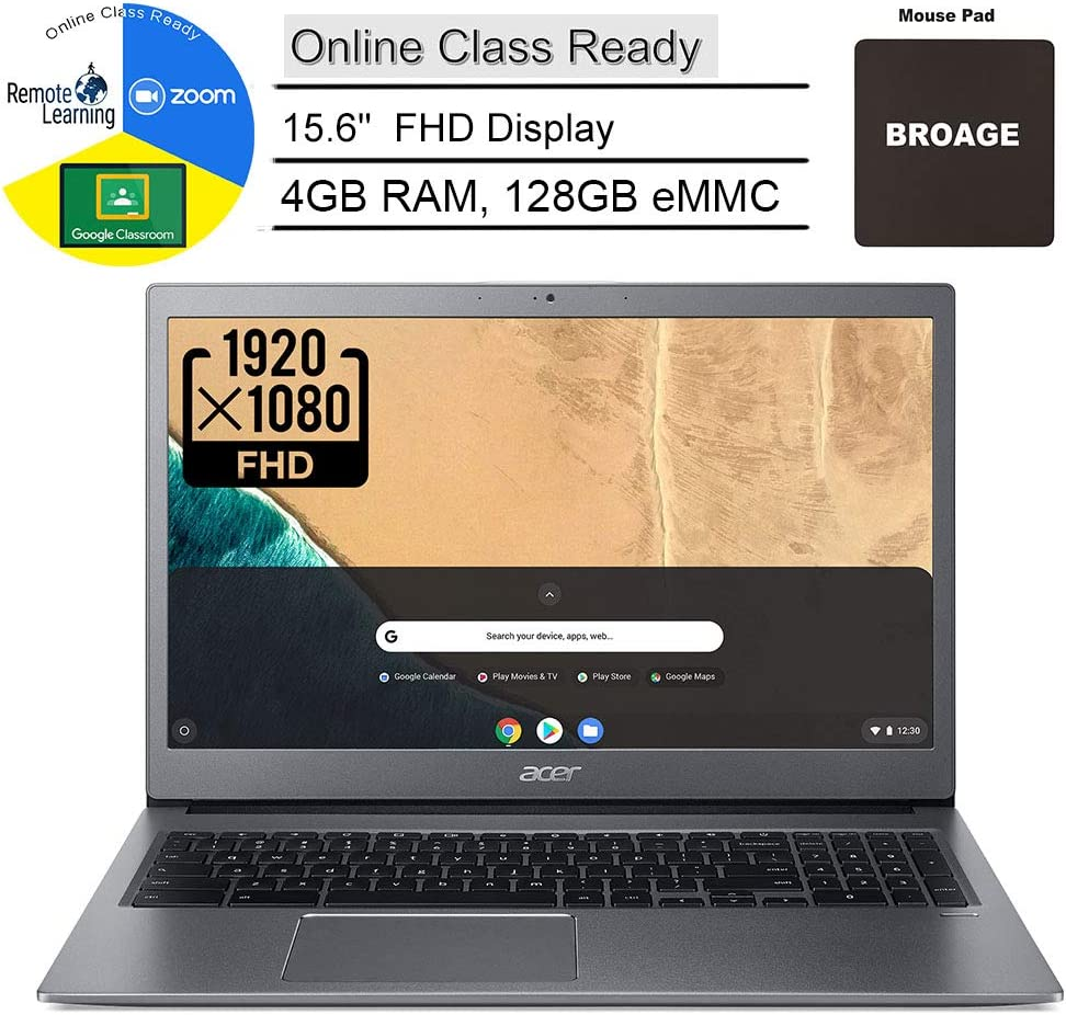 "Acer Chromebook 715 15.6"" FHD IPS Laptop Computer, Intel Core i3-8130U (Beat i5-7200U), 4GB DDR4, 128GB eMMC, Online Class Ready, USB 3.1 Gen 1 Type-C, Chrome OS, Bluetooth, AC WiFi, BROAGE Mousepad"