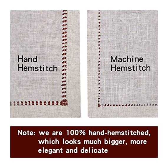 Grelucgo Handmade Hemstitched Natural Rectangle Lace Table Runners (14x48 inch) - Hand hemstitched natural color 50% linen, 50% polyester Machine washable - table-runners, kitchen-dining-room-table-linens, kitchen-dining-room - 61J6NrBY BL. SS570  -
