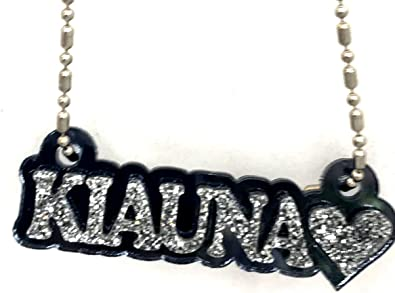 Mirror Mania Name Plate Custom Name Necklace Black Nameplate Personalized Name Princess Crown Design Laser Cut Made to Order Any Name Dazzling Stunning! Diamond Look