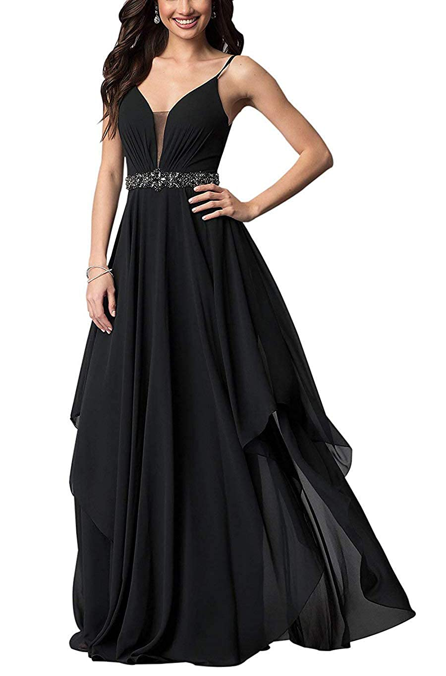 Black Stylefun Spaghetii Strap Bridesmaid Dress for Women Ruched Skirt Evening Formal Gowns with Beaded Belt KN025