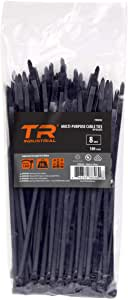 TR Industrial Multi-Purpose UV Resistant Black Cable Ties, 8 inches, 100 Pack