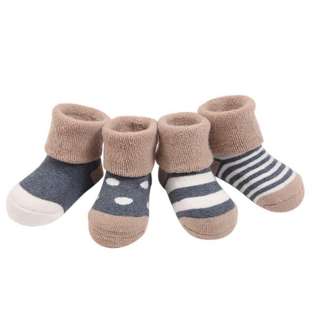 FEOYA - Lot de 4 Paires de Chaussettes Bébé Fille Garçon Naissance Coton Hiver Epaissir 0-3 Ans Motif
