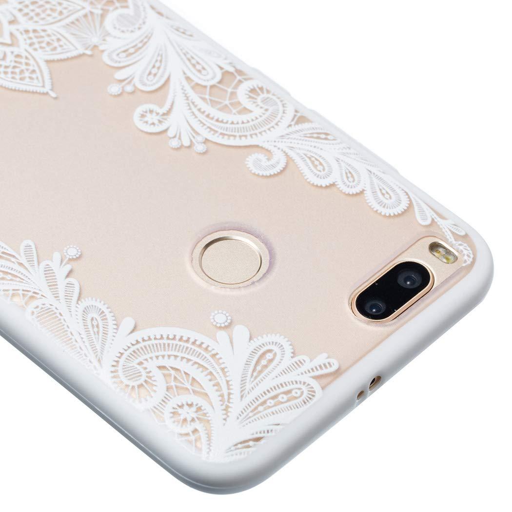 Carcasa para Xiaomi Mi A1 Anti-Rasgu/ño y Resistente Protectora Caso Blanco Encaje Blanco Funda Xiaomi Mi A1 Transparente Silicona+PC Dura Ultra Delgado CoverTpu Funda Xiaomi Mi A1