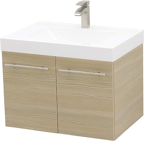 Amazon Com Windbay Wall Mount Floating Bathroom Vanity Sink Set Tan Vanity White Integrated Sink Countertop 23 25 Kitchen Dining