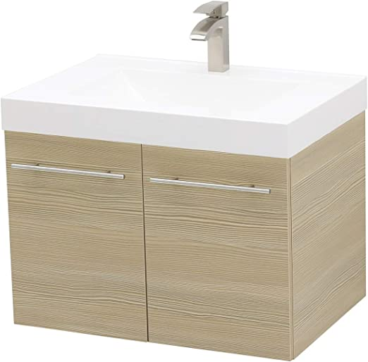 ENGELCH Modern 29 Grey 2 Drawers Floating Wall Mounted Bathroom Vanity Storage Cabinet with White Ceramic Vessel Basin Top Vanity Sink Combo